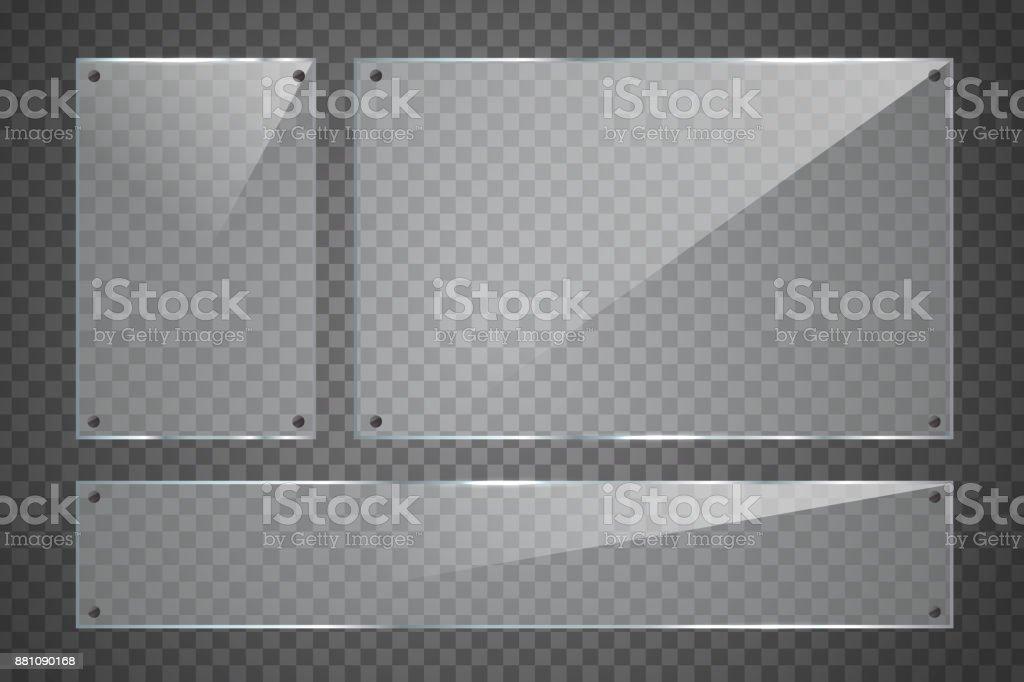 Vector conjunto de cartelera de vidrio realista aislada sobre el fondo transparente para decoración y revestimiento. - ilustración de arte vectorial
