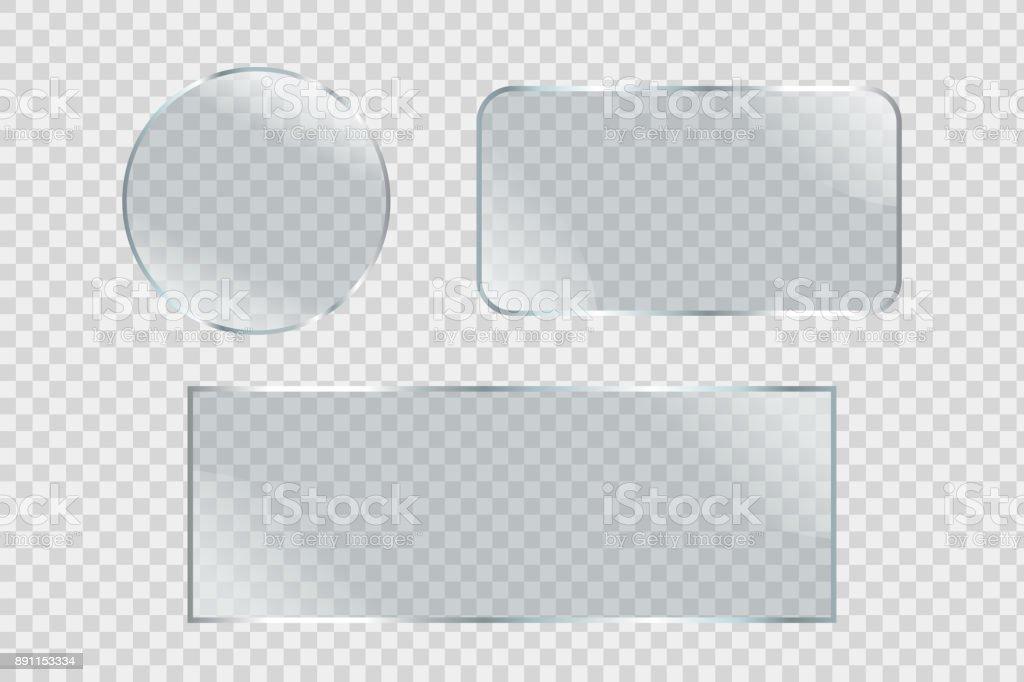Conjunto de vector de las vallas de vidrio realista aislada sobre el fondo transparente para decoración y revestimiento. - ilustración de arte vectorial
