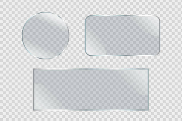 Vector set of isolated realistic glass billboards on the transparent background for decoration and covering. vector art illustration