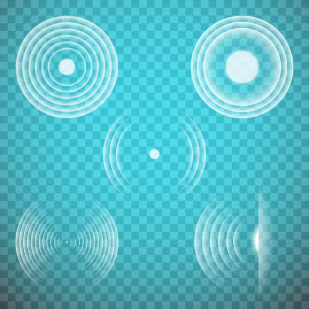 Vector set of isolated transparent sound waves design elements. Sonic resonance. Vector set of isolated transparent sound waves design elements. Sonic resonance, radio frequency, energy radiation, vibration, sound emitting themed illustrations, abstract icons or symbols. shaking stock illustrations