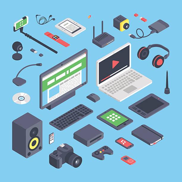 wektor zestaw izometryczny komputer ikony urządzeń - przemysł elektroniczny stock illustrations
