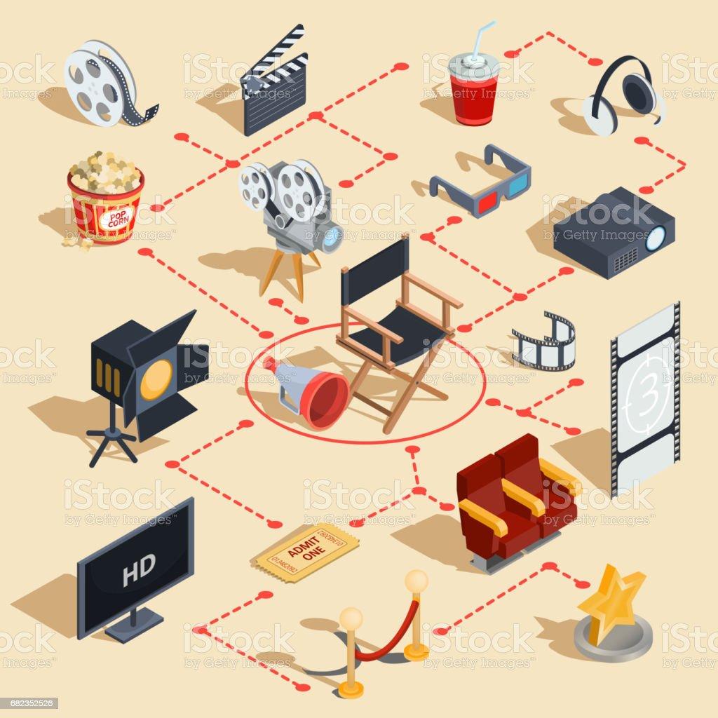 Vector set isometrische illustraties maken van films en het bekijken van een film in de bioscoop. royalty free vector set isometrische illustraties maken van films en het bekijken van een film in de bioscoop stockvectorkunst en meer beelden van amusement beroep