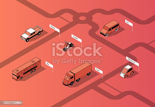 Vector set of isometric urban transportation on road. Cars with shadows on route, isolated on red background. Automobiles - bus, truck and others. City vehicles collection.