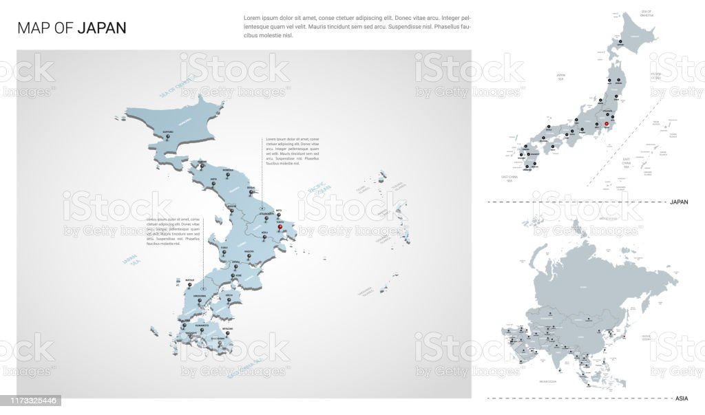 Picture of: Vector Set Of Japan Country Isometric 3d Map Japan Map Asia Map With Region State Names And City Names Stock Illustration Download Image Now Istock