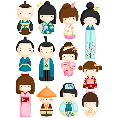 A Vector Set of Japanese Traditional Cute Kokeshi Dolls
