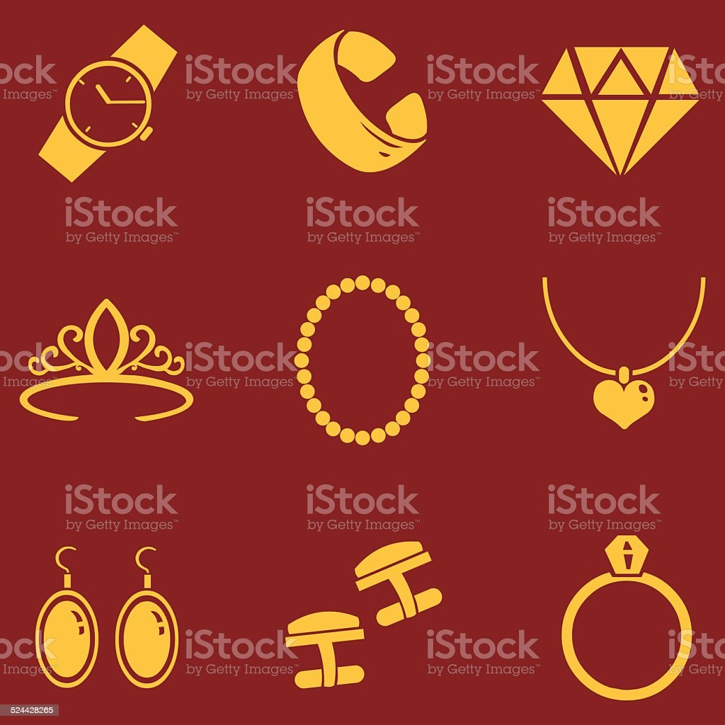 Vector Set of Jewellery Icons vector art illustration