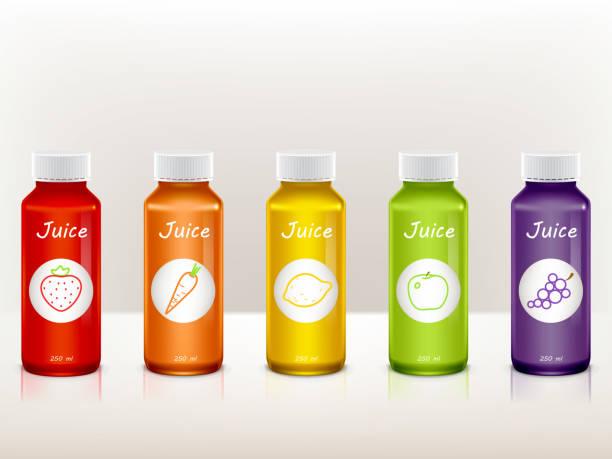 illustrazioni stock, clip art, cartoni animati e icone di tendenza di vector set of juice bottles with fruit icons - fruit juice bottle isolated