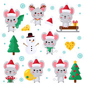 Mouse in different situations. Dressed up in Rudolph deer costume. Traditional elements of winter.