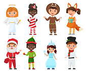 Vector Set of Kids in Christmas Costumes.