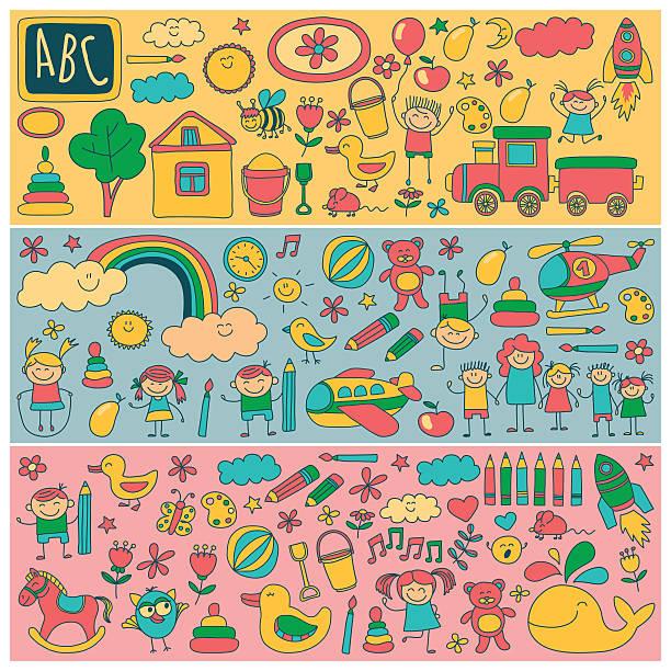 Vector set of kindergarten images Vector set of kindergarten images Hand drawn pictures preschool teacher stock illustrations