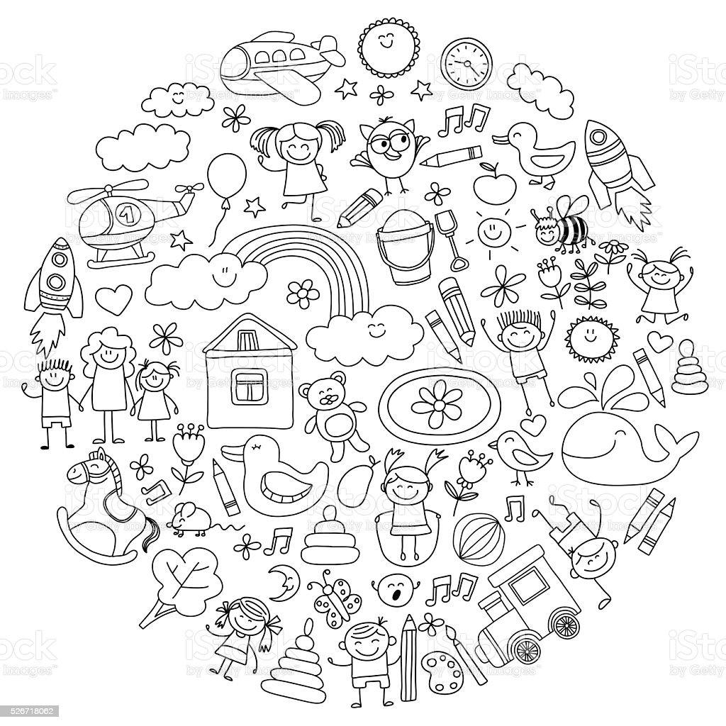Vektor ein satz von bereits im kindergarten Bilder – Vektorgrafik