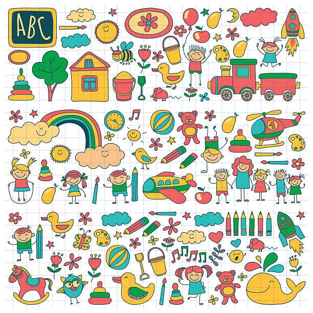 bildbanksillustrationer, clip art samt tecknat material och ikoner med vector set of kindergarten images - förskolebyggnad