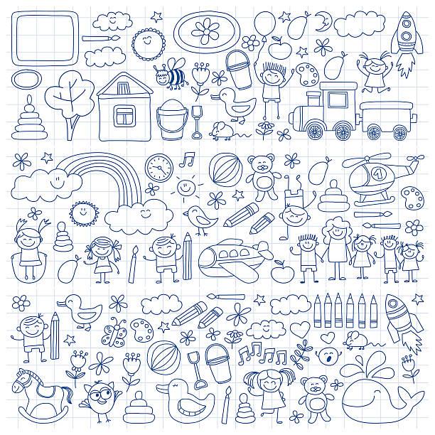 vector set of kindergarten images - preschool stock illustrations