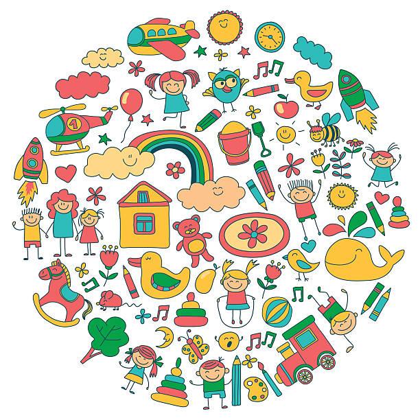 ilustrações, clipart, desenhos animados e ícones de imagens vetor conjunto de jardim de infância - professor de pré escola