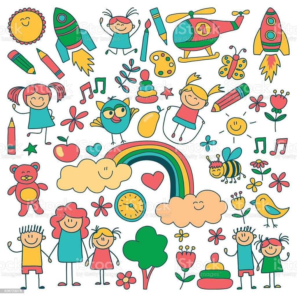 Vector set of kindergarten images vector art illustration