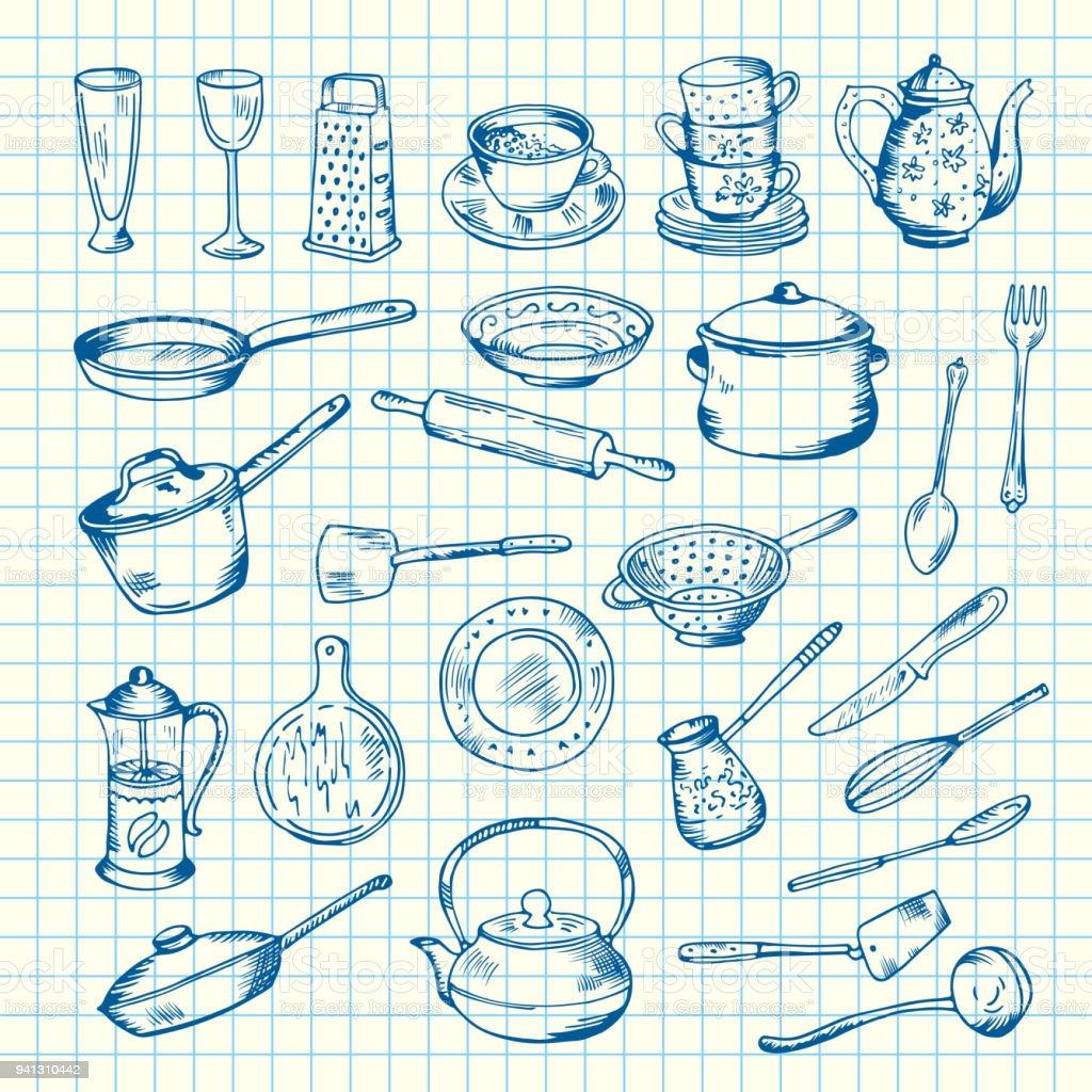 Vector Set Of Kitchen Utensils On Cell Sheet Illustration Stock ...