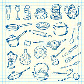 Vector set of kitchen utensils on cell sheet illustration. Knife and spoon, fork and spatula