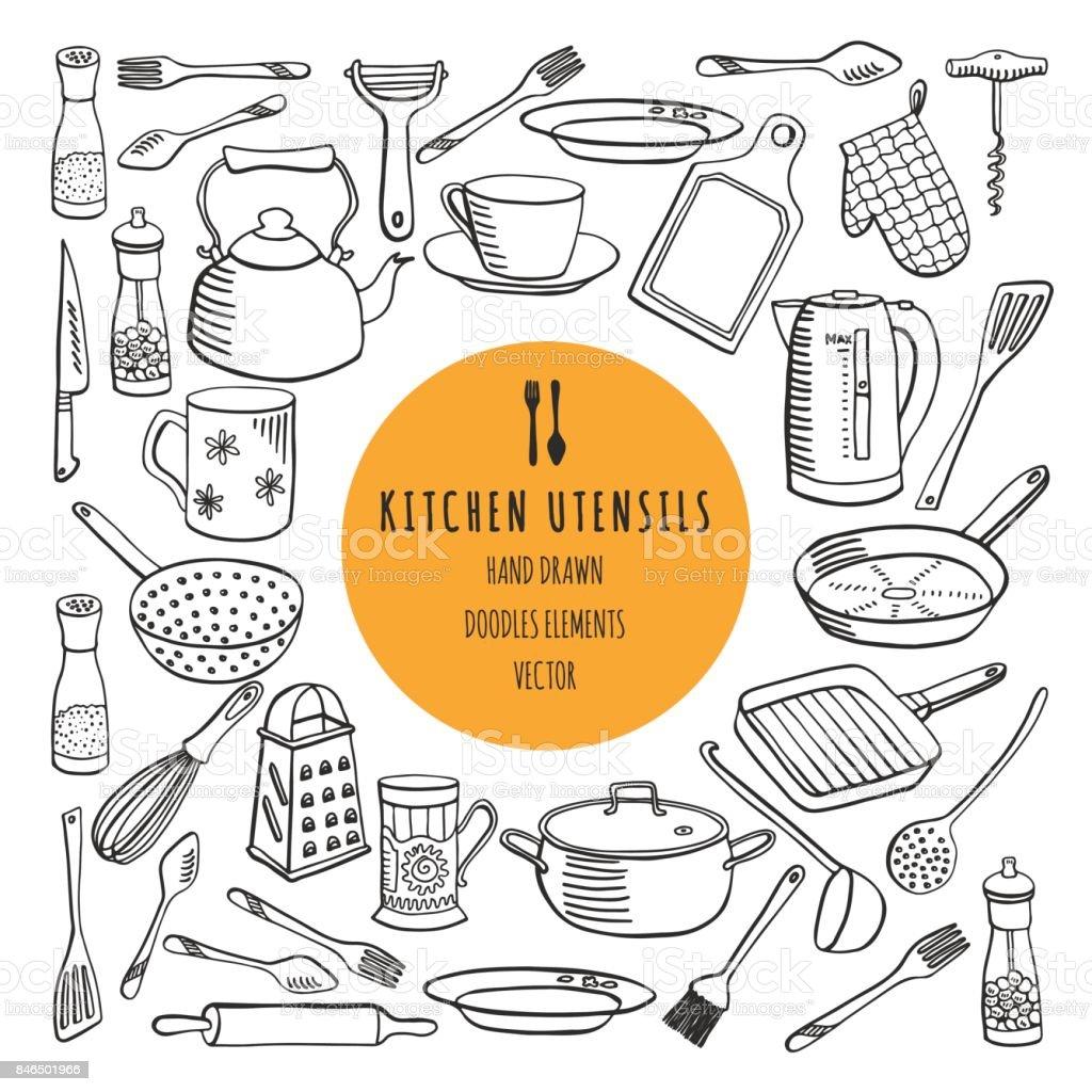 Vector set of kitchen utensils vector art illustration
