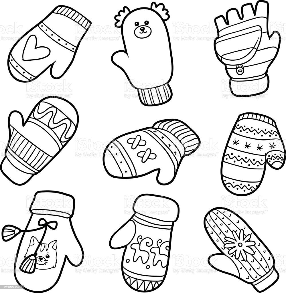 Vector set of knitted mittens with animals and geometric pattern vector art illustration