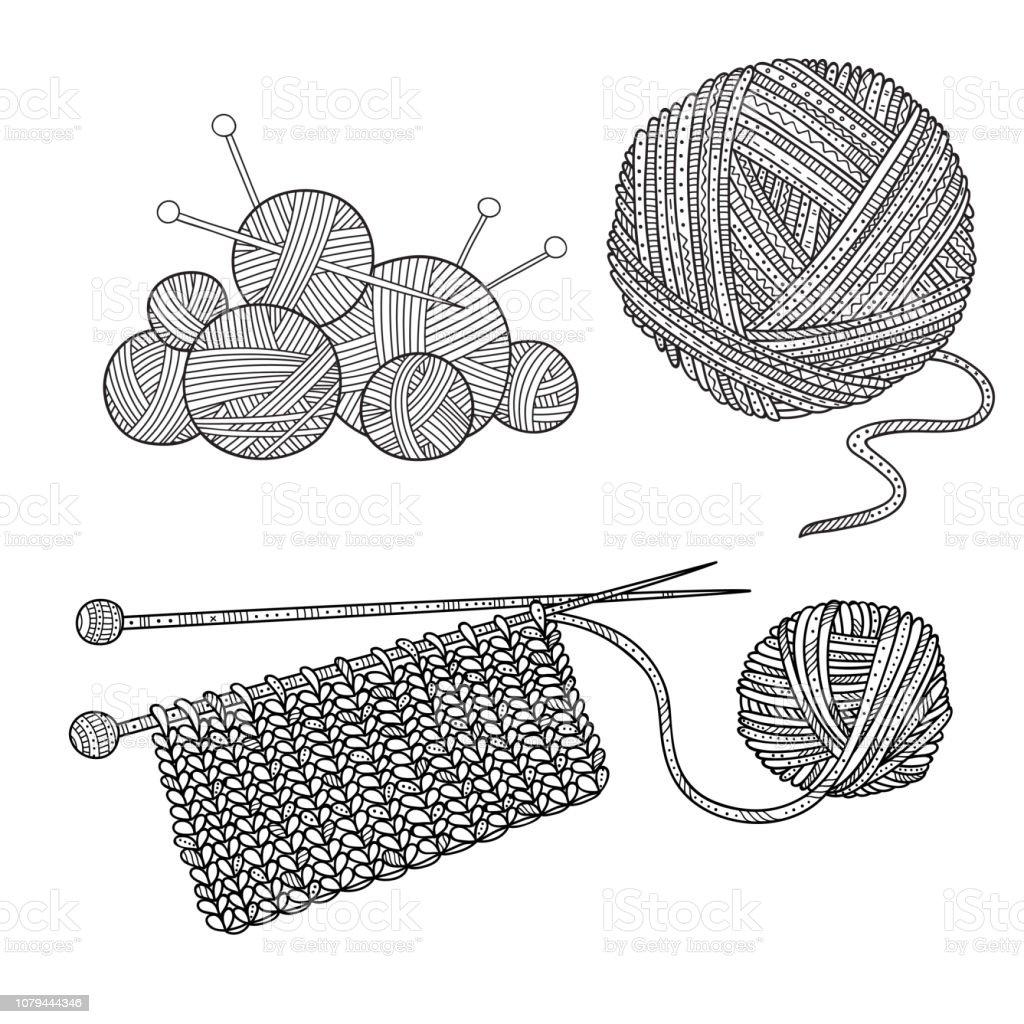 vector set of knitting tools and yarn vector id1079444346