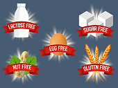 Vector set of labels for allergen free products. Lactose, sugar, egg, gluten, nut free diet food. Healthy nutrition and lifestyle concept.