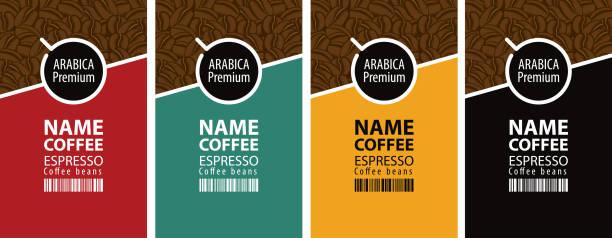 bildbanksillustrationer, clip art samt tecknat material och ikoner med vector uppsättning etiketter för kaffebönor - fika