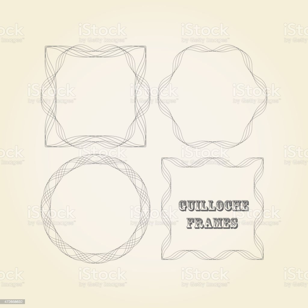 vector set of lace graceful guilloche frames for design vector art illustration