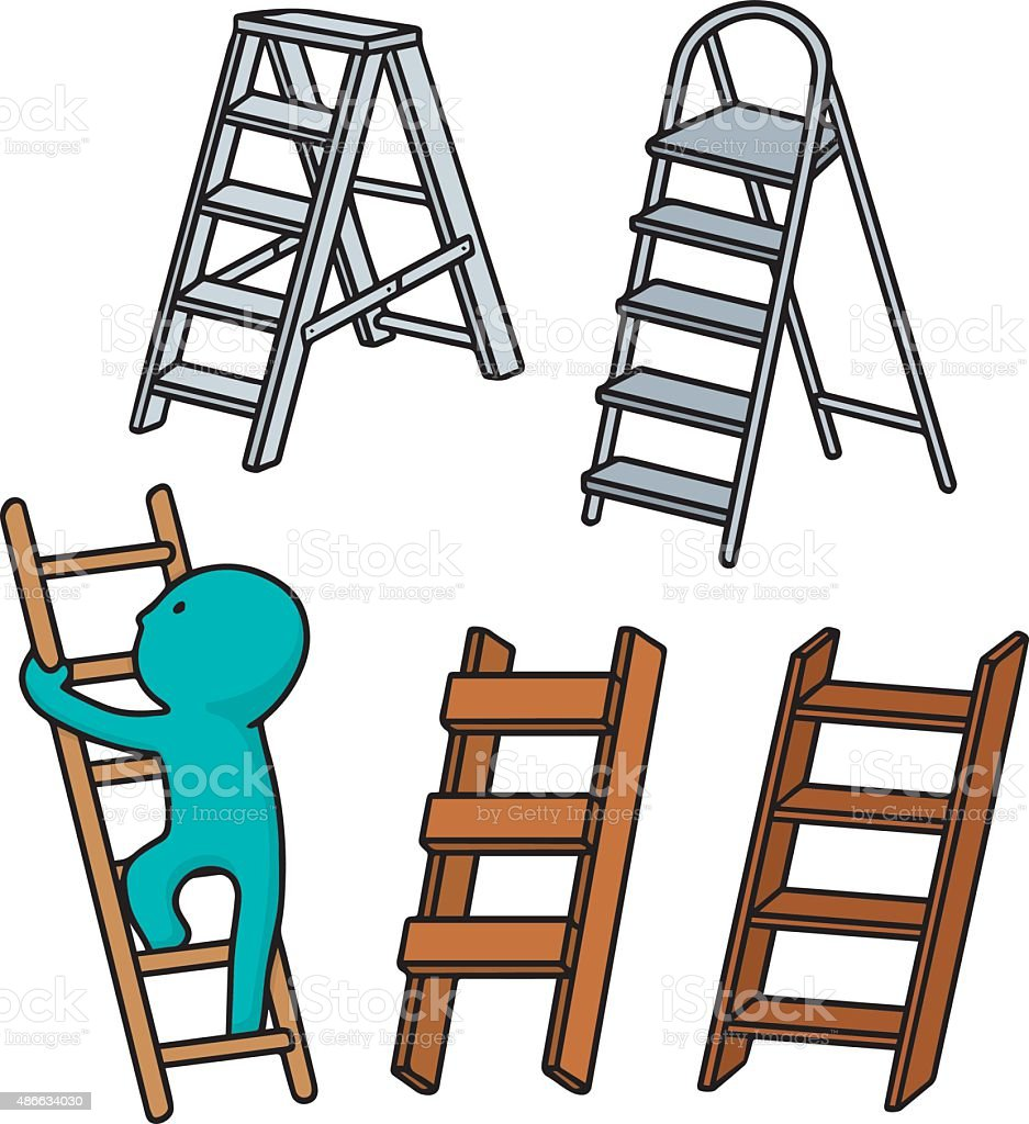 vector set of ladders vector art illustration