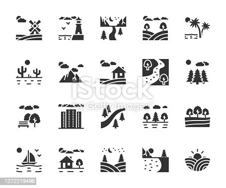 Vector set of landscape flat icons. Contains icons park, mountains, farm, river, desert, forest, lake, megalopolis, field and more. Pixel perfect.