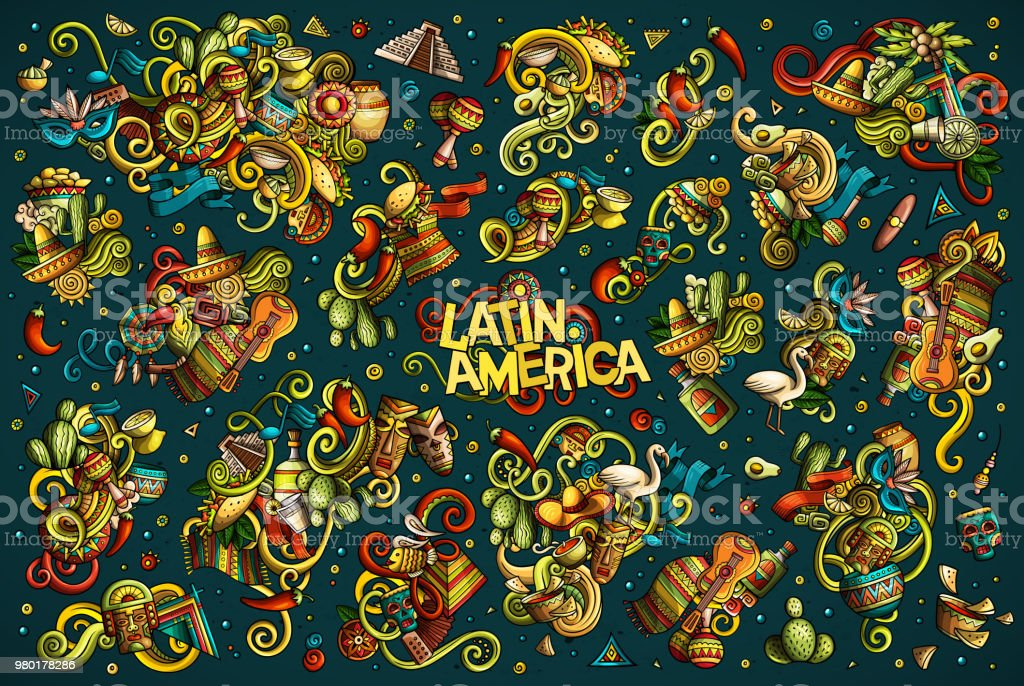 Vector set of Latin America combinations of objects and elements vector art illustration