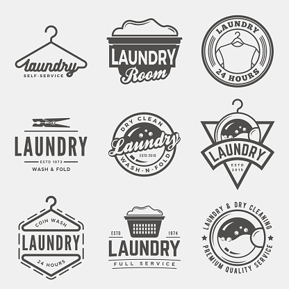 vector set of laundry logos, emblems and design elements