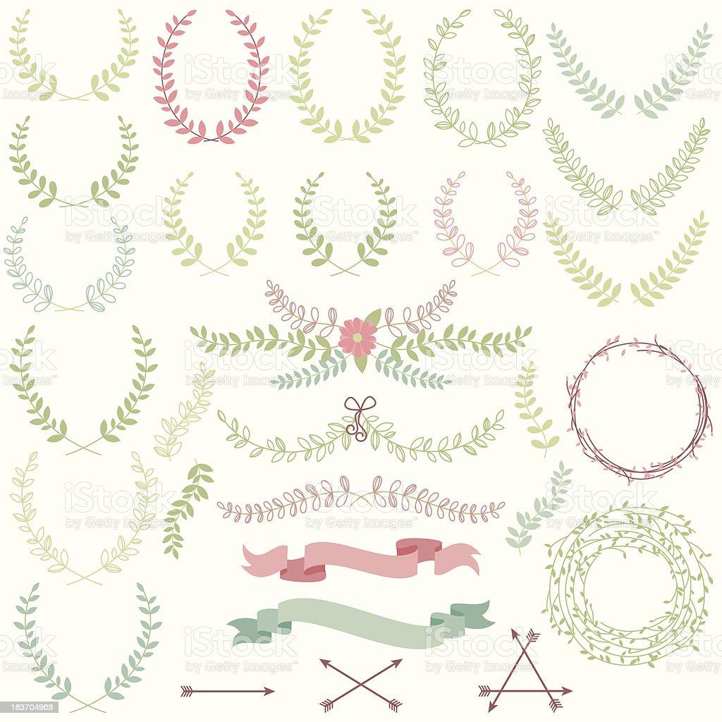 Vektor-Satz von Lorbeeren, florale Elemente und Banner – Vektorgrafik