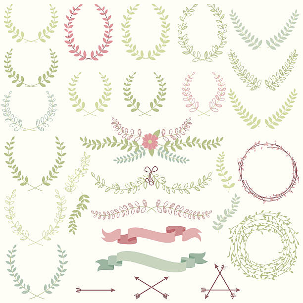vector set of laurels, banners and floral elements - laurel leaf stock illustrations, clip art, cartoons, & icons