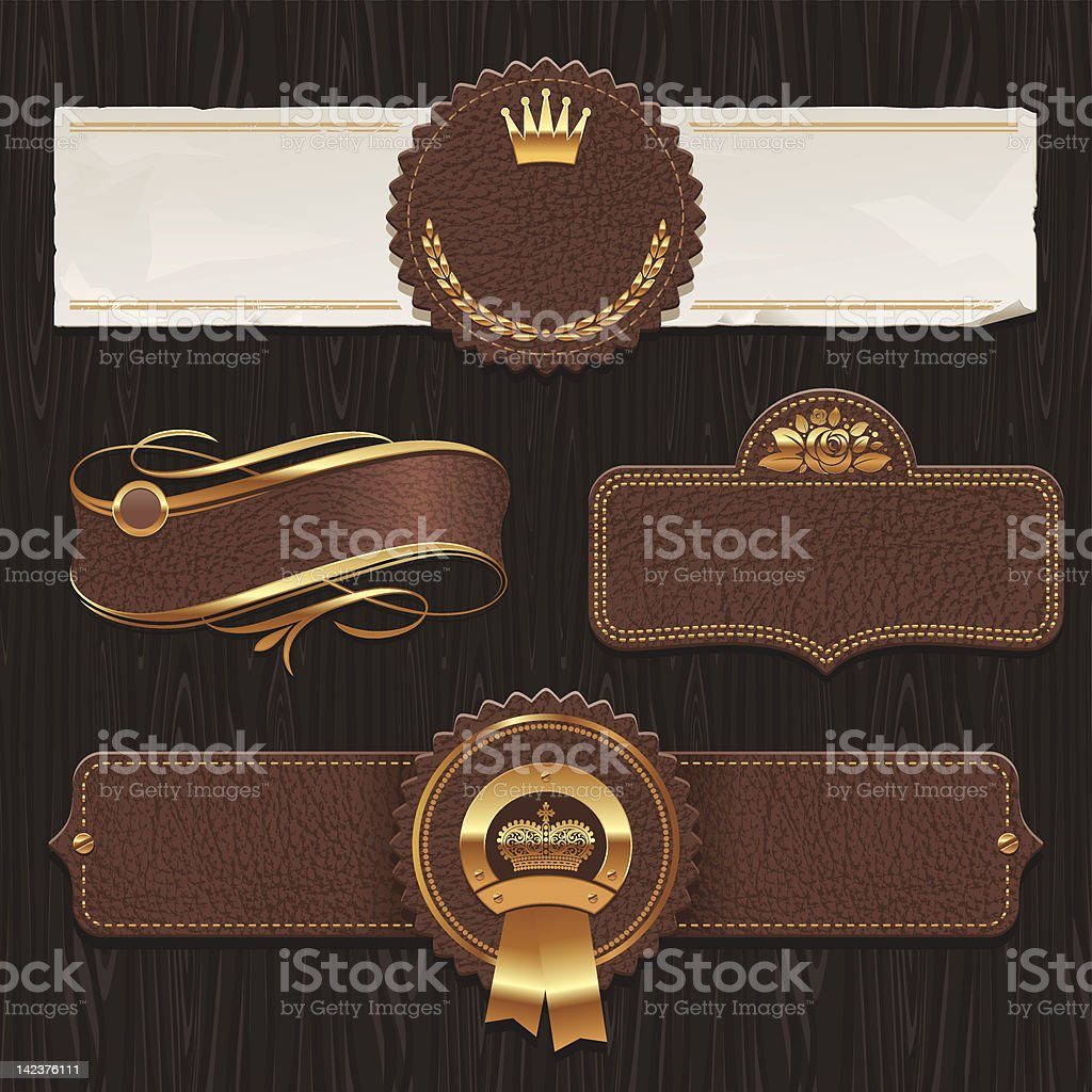 Vector set of leather & golden framed labels royalty-free stock vector art