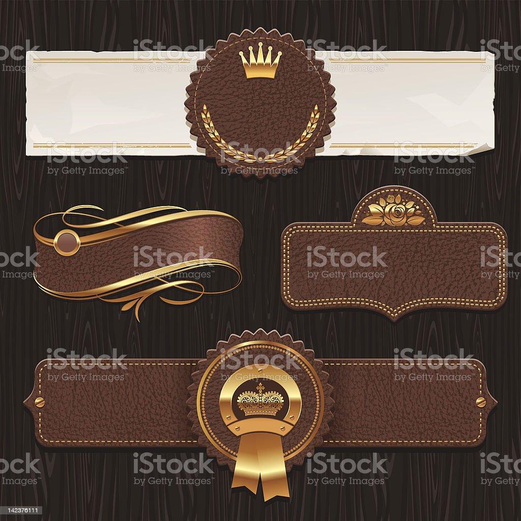 Vector set of leather & golden framed labels vector art illustration