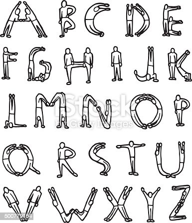 istock vector set of letter by human 500779154