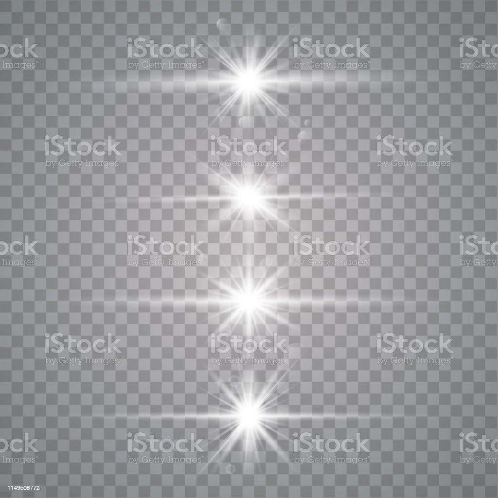 Vector set of light effects, lens flare, light beams, spotlight,...