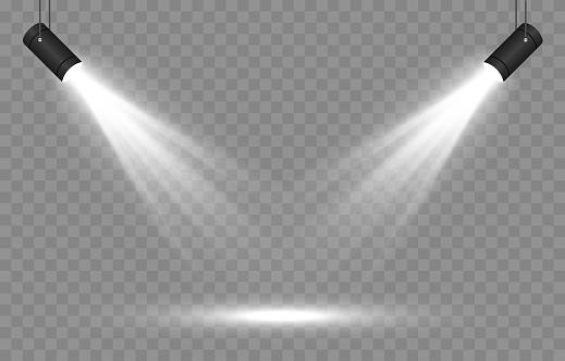 Vector set of light. Light source, studio lighting, walls, png. Spotlight lighting, spotlight PNG. Light beams, light effect. Vector.