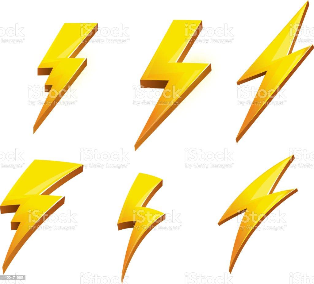 A vector set of lightening bolt icons vector art illustration