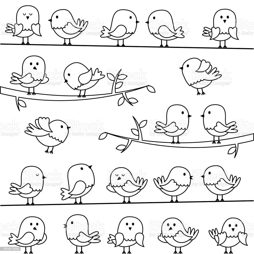 Vektorsatz Von Linie Kunst Comic Vögel Stock Vektor Art und mehr ...