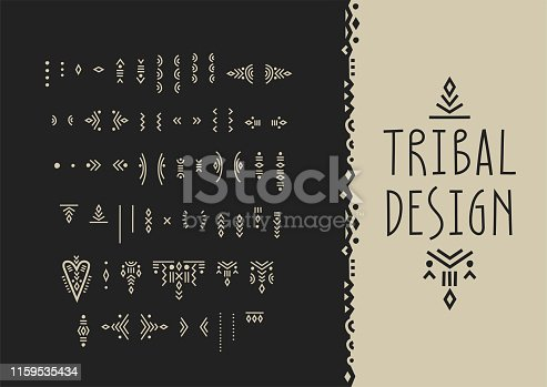 Vector set of line art symbols for logo design and lettering in boho style.