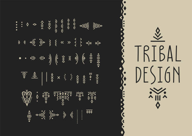 Vector set of line art symbols for logo design and lettering in boho style. Vector set of line art symbols for logo design and lettering in boho style. indigenous culture stock illustrations