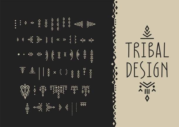 stockillustraties, clipart, cartoons en iconen met vector set van line art symbolen voor logo ontwerp en belettering in boho stijl. - inheemse cultuur