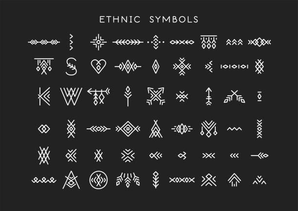 stockillustraties, clipart, cartoons en iconen met vector set van lijn kunst symbolen voor logo ontwerp en belettering in boho en hipster stijl. - tribale kunst