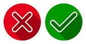 Vector set of line cross & check mark icons, flat round buttons.