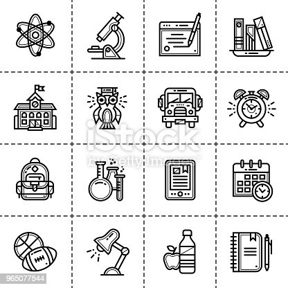 Vector Set Of Line Icons For Education Modern Outline Icons For Mobile Application And Web Concepts Stock Vector Art & More Images of Alarm Clock