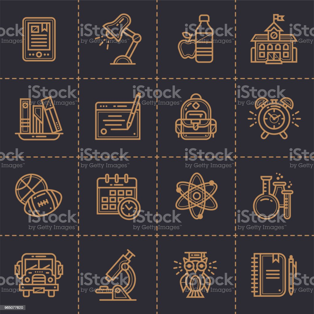 Vector set of line icons for education.  Modern outline icons for mobile application and web concepts royalty-free vector set of line icons for education modern outline icons for mobile application and web concepts stock vector art & more images of alarm clock