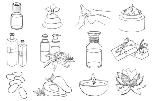 vektor der linie spa symbole festgelegt. skizze - naturseife stock-grafiken, -clipart, -cartoons und -symbole