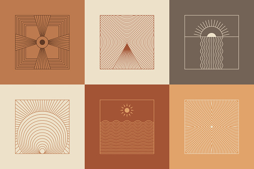 Vector set of linear boho icons and symbols - sun logo design templates  and pritns - abstract design elements for decoration in modern minimalist style for social media posts, stories, for artisan jewellery, handcrafted products, female business