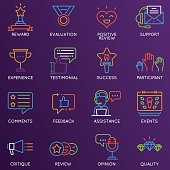 Vector set of linear color 16 icons related to feedback, review and customer relationship management. Mono line pictograms and infographics design elements - part 1